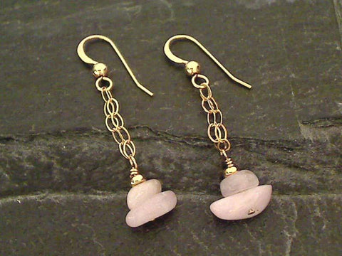 Kunzite, Gold Filled Earrings