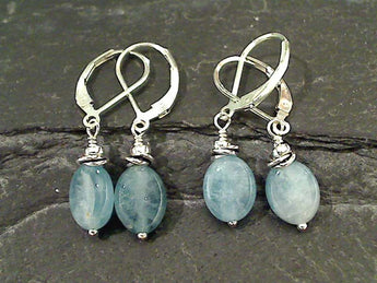 Aquamarine, Sterling Silver Earrings