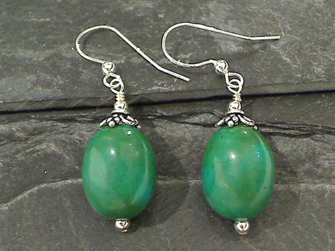 Pressed Turquoise, Sterling Silver Earrings