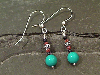 Turquoise, Goldstone, Sterling Silver Earrings