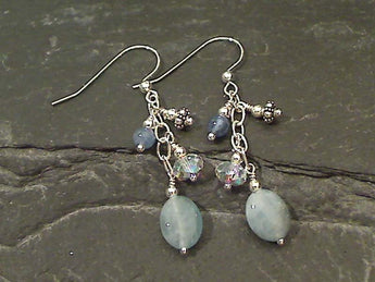 Aquamarine, Kyanite, Sterling Silver Earrings
