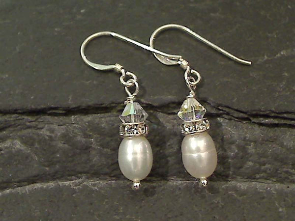 Pearl, CZ, Swarovski, Sterling Silver Earrings