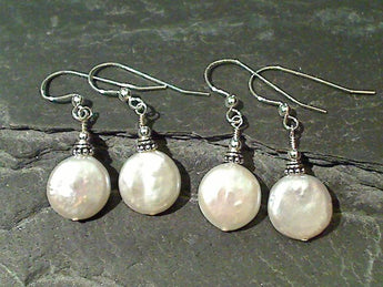 Coin Pearl, Sterling Silver Earrings