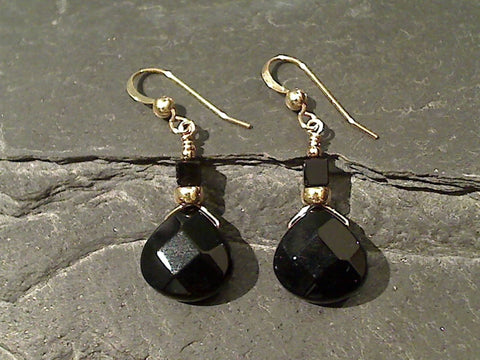 Black Onyx, Gold Filled Earrings