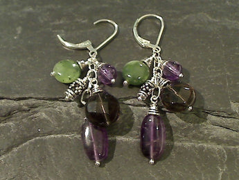 Amethyst, Jade, Smokey Quartz, Sterling Earrings