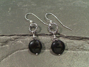 Onyx, Sterling Silver Earrings