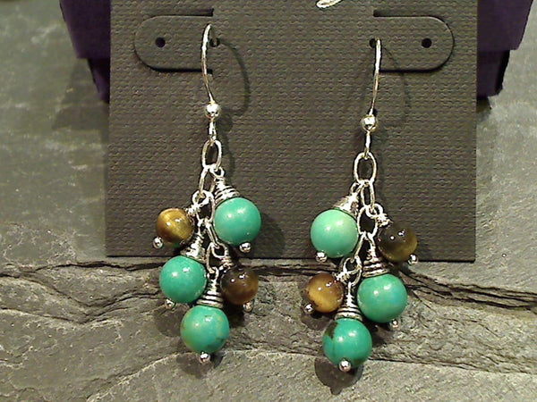 Turquoise, Tigers Eye Sterling Silver Earrings