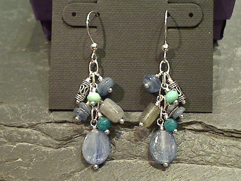 Kyanite Multi Stone Earrings, Sterling