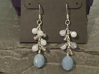 Agate, Chalcedony, Quartz, Sterling Earrings