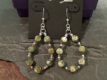 Rhyolite Jasper, Sterling Silver Earrings