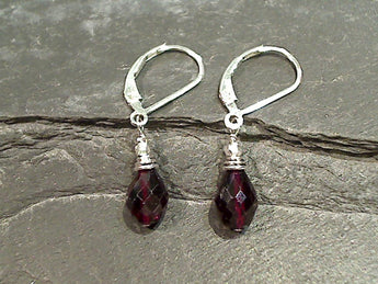 Garnet, Sterling Silver Earrings