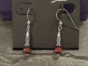 Red Tiger's Eye, Sterling Silver Earrings