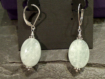Greenish Aquamarine, Sterling Silver Earrings