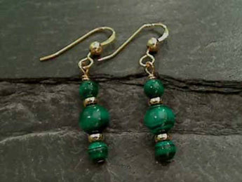 Malachite, Gold Filled Earrings
