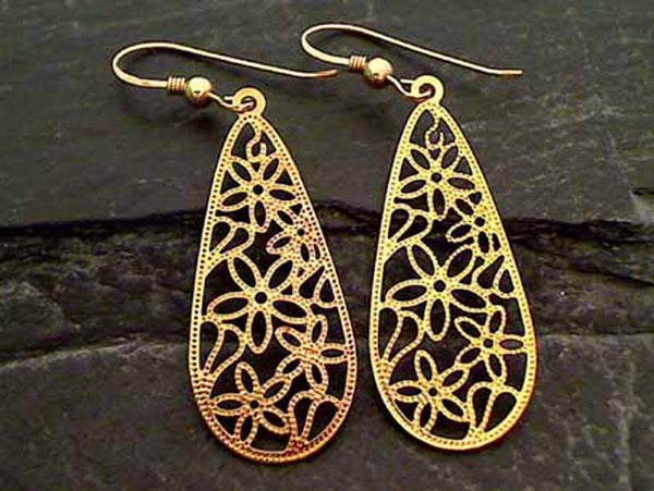 24K Gold Plated Earrings, 14K Plated Hooks