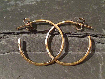 "Gold Plate over Sterling 1"" Earrings, GF Posts"
