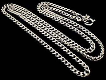 "18"" Thick Gauge Curb Link Chain, Sterling"