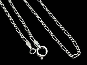 "16"" Thin Gauge 1.5mm Figaro Chain, Sterling"