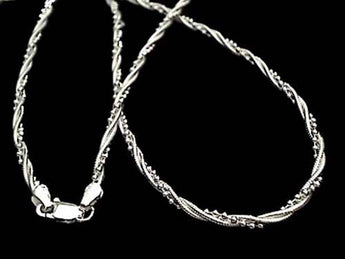 "16"" Medium Snake-Ball Twist Chain .925 Sterling"