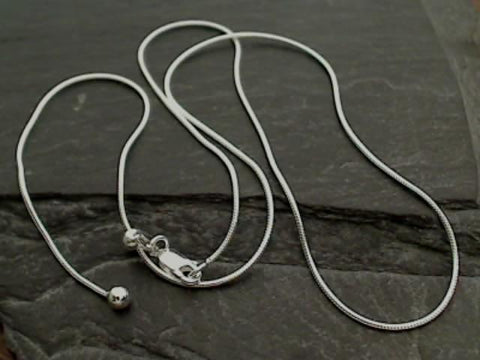 "Adj. to 20"" Sterling Silver Snake Chain"