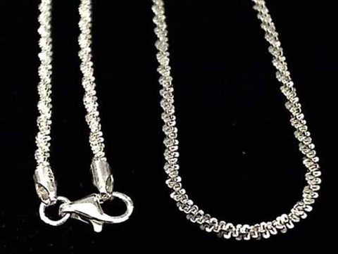 "24"" Di-Cut Twisted 2mm Sterling Silver Chain"