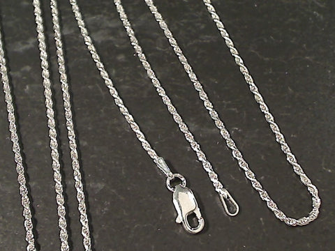 "20"" Thin Gauge 1.25mm Rope Chain, Sterling"