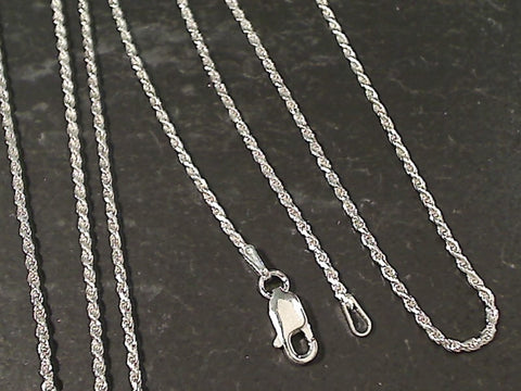 "18"" Thin Gauge 1.25mm Rope Chain, Sterling"