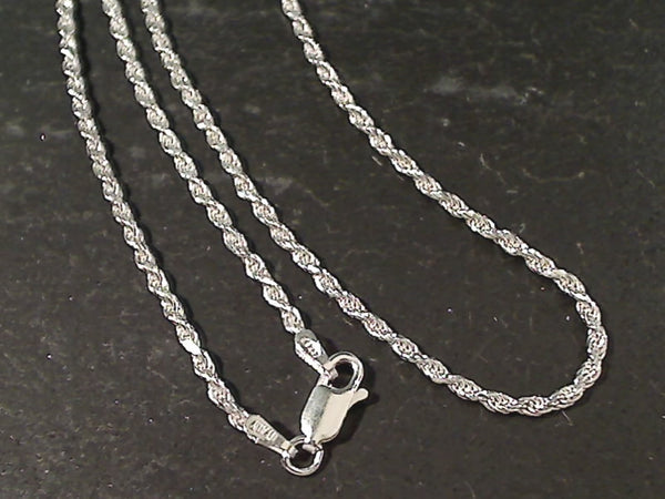 "24"" Med. Gauge 2mm Rope Chain, Sterling"