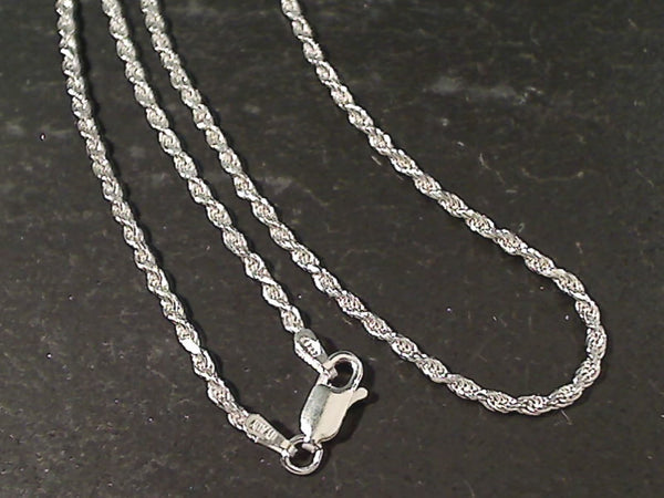 "16"" Med. Gauge 2mm Rope Chain, Sterling"