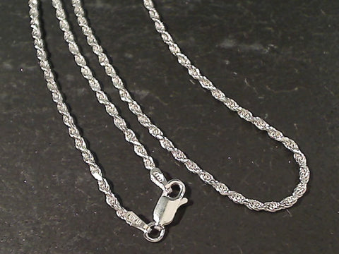 "18"" Med. Gauge 2mm Rope Chain, Sterling"