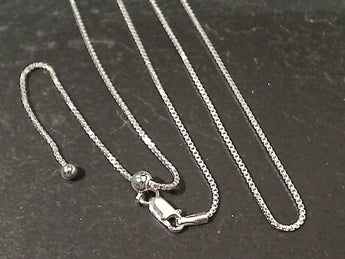 "Up to 24"" Adj Length 1mm Sterling Silver Box Chain"