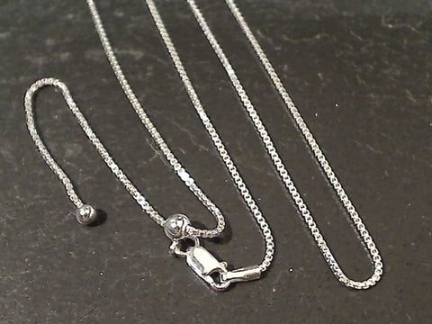 "Up to 20"" Adj Length 1mm Sterling Silver Box Chain"