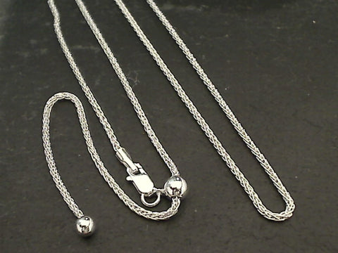 "Adj up to 20"" - Sterling Silver 1.25mm Woven Chain"