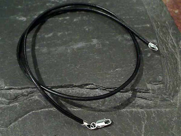 "16"" 2mm Black Leather Cord, Sterling Clasp"
