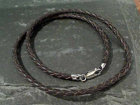 "18"" 3mm Brown Leather Cord, Sterling Clasp"