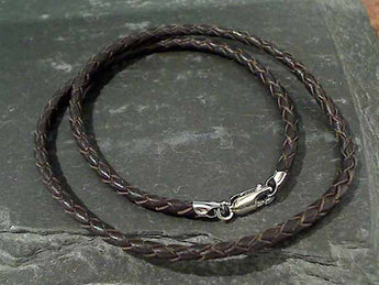 "16"" 3mm Brown Leather Cord, Sterling Clasp"