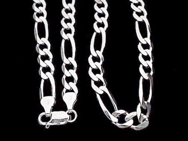 "18"" XX-Thick Gauge 7mm Figaro Chain, .925"