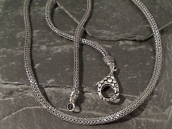 "20"" Sterling Silver 3mm X 2mm Bali Woven Chain"