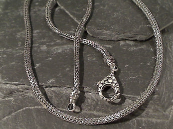 "18"" Sterling Silver 3mm X 2mm Bali Woven Chain"