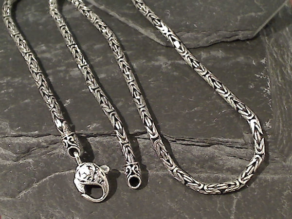 "18"" Sterling Silver 3mm Bali Byzantine Chain"