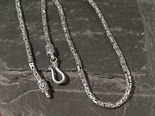 "18"" Sterling Silver 2.7mm Bali Byzantine Chain"