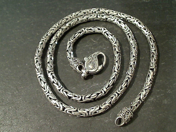 "18"" Sterling Silver 3.2mm Bali Byzantine Chain"