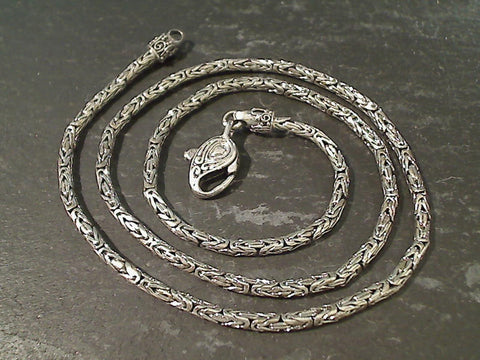 "20"" Sterling Silver 2.5mm Bali Byzantine Chain"