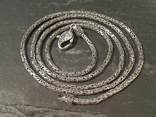 "30"" Sterling Silver 2.5mm Bali Byzantine Chain"