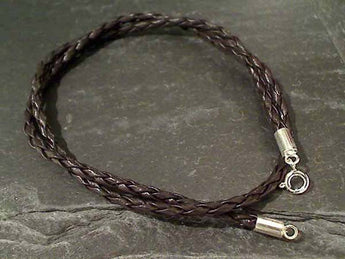"16"" Leather Braid Cord, Sterling Clasp and Ends"