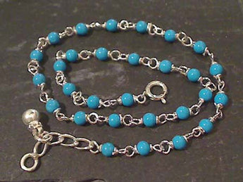 "10"" Simulated Turquoise, Sterling Silver Anklet"