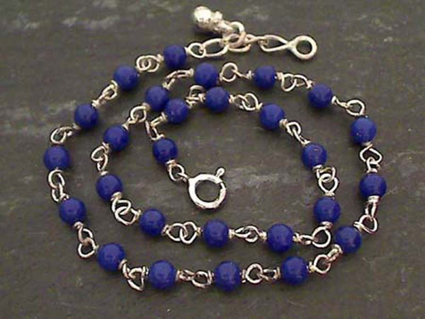 "10"" Simulated Lapis, Sterling Silver Anklet"