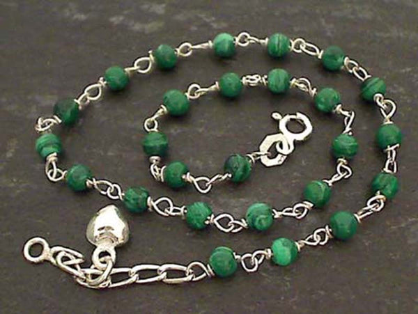 "10"" Malachite, Sterling Silver Anklet"