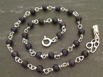 "10"" Blue Goldstone, Sterling Silver Anklet"