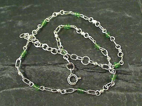 "9.5""-11"" Glass, Sterling Silver Anklet"